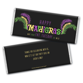 Personalized Mardi Gras Party Gras Hershey's Chocolate Bar & Wrapper