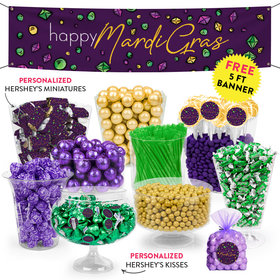 Personalized Mardi Gras Beads & Bling Deluxe Candy Buffet