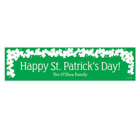 Personalized St. Patrick's Day White Clover on Green 5 Ft. Banner