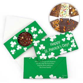 Personalized St. Patrick's Day White Clovers Gourmet Infused Belgian Chocolate Bars (3.5oz)