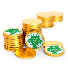 St. Patrick's Day White Clovers Chocolate Coins with Stickers (84 Pack)