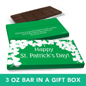 Deluxe Personalized St. Patrick's Day White Clovers Chocolate Bar in Gift Box (3oz Bar)