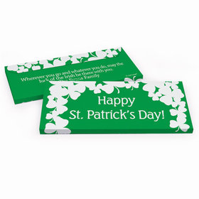 Deluxe Personalized St. Patrick's Day White Clovers Chocolate Bar in Gift Box