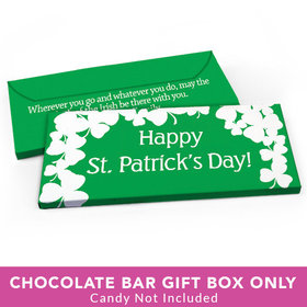 Deluxe Personalized St. Patrick's Day White Clovers Candy Bar Favor Box