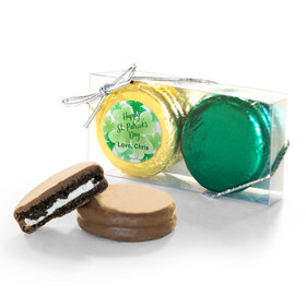 Personalized St. Patricks Day Watercolor 2Pk Belgian Chocolate Covered Oreo Cookies