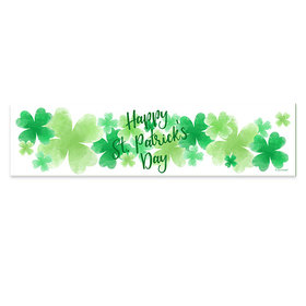 Personalized St. Patrick's Day Watercolor Clovers 5 Ft. Banner