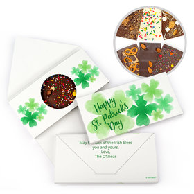 Personalized St. Patrick's Day Watercolor Clovers Gourmet Infused Belgian Chocolate Bars (3.5oz)