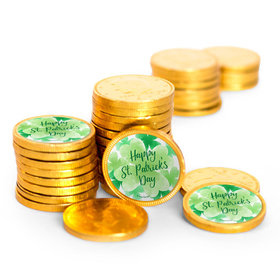 St. Patrick's Day Watercolor Clovers Chocolate Coins with Stickers (84 Pack)