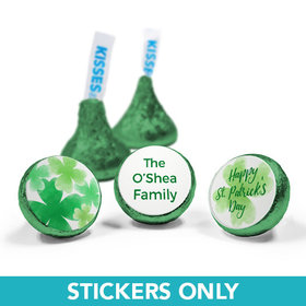 """Personalized St. Patrick's Day Watercolor Clovers 3/4"""" Sticker (108 Stickers)"""