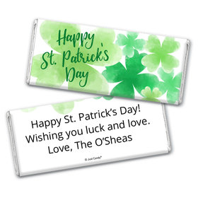 Personalized St. Patrick's Day Watercolor Clovers Chocolate Bar Wrappers