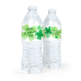 Personalized St. Patrick's Day Watercolor Clovers Water Bottle Sticker Labels (5 Labels)