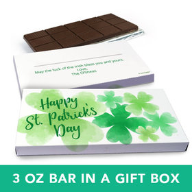 Deluxe Personalized St. Patrick's Day Watercolor Clover Chocolate Bar in Gift Box (3oz Bar)