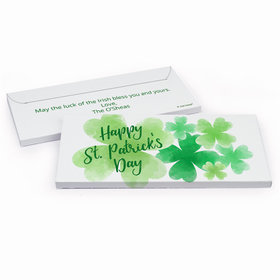 Deluxe Personalized St. Patrick's Day Watercolor Clover Chocolate Bar in Gift Box