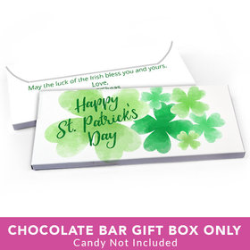 Deluxe Personalized St. Patrick's Day Watercolor Clover Candy Bar Favor Box