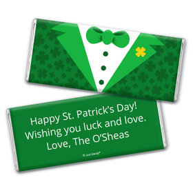 Personalized St. Patrick's Day Tux Chocolate Bar & Wrapper