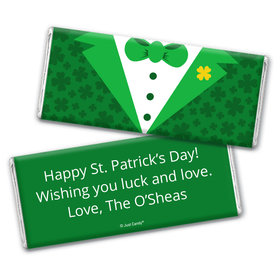 Personalized St. Patrick's Day Tux Chocolate Bar Wrappers
