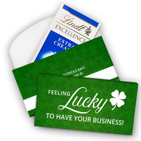 Deluxe Personalized St. Patrick's Day Add Your Logo Feeling Lucky Lindt Chocolate Bar in Gift Box (3.5oz)