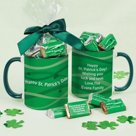 Personalized St. Patrick's Day Clover Ribbons 11oz Mug with approx. 24 Hershey's Miniatures