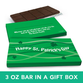 Deluxe Personalized St. Patrick's Day Clover Streams Chocolate Bar in Gift Box (3oz Bar)