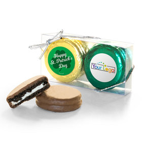 Add Your Logo St. Patricks Day Clovers 2Pk Belgian Chocolate Covered Oreo Cookies