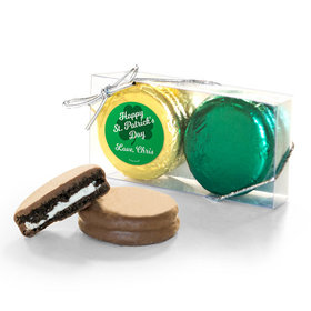 Personalized St. Patricks Day Clovers 2Pk Belgian Chocolate Covered Oreo Cookies