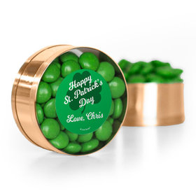 Personalized St. Patrick's Day Clovers Chocolate Minis Small Plastic Tin