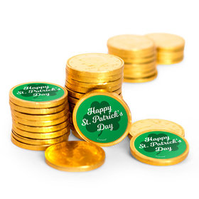 St. Patrick's Day Clover Chocolate Coins with Stickers (72 Pack)