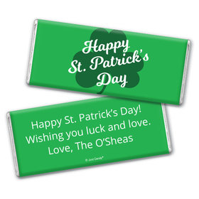Personalized St. Patrick's Day Clover Chocolate Bar & Wrapper