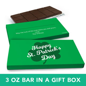 Deluxe Personalized St. Patrick's Day Clover Chocolate Bar in Gift Box (3oz Bar)