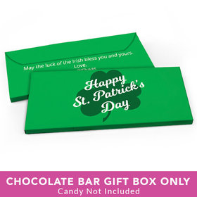 Deluxe Personalized St. Patrick's Day Clover Candy Bar Favor Box