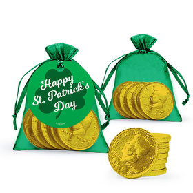 St. Patrick's Day Clovers Extra Small Organza Bag of Gold Chocolate Coins