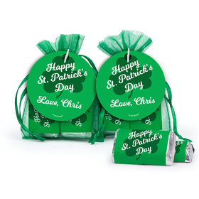 Personalized St. Patrick's Day Clover Hershey's Miniatures in XS Organza Bags with Gift Tag