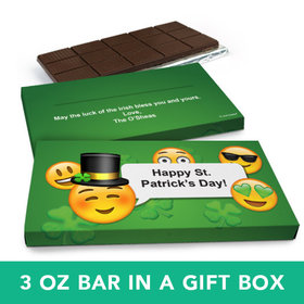 Deluxe Personalized St. Patrick's Day Emoji Chocolate Bar in Gift Box (3oz Bar)