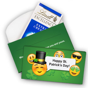 Deluxe Personalized St. Patrick's Day Emoji Lindt Chocolate Bar in Gift Box (3.5oz)
