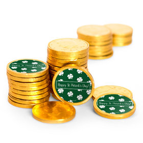 St. Patrick's Day Shamrocks Chocolate Coins with Stickers (72 Pack)