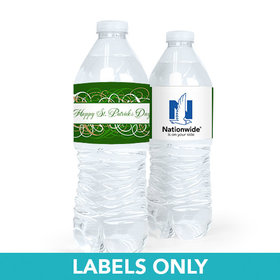 Personalized St. Patrick's Day Swirls Water Bottle Sticker Labels (5 Labels)