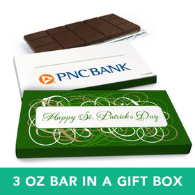 Deluxe Personalized St. Patrick's Day Swirls Chocolate Bar in Gift Box (3oz Bar)