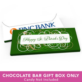 Deluxe Personalized St. Patrick's Day Swirls Candy Bar Favor Box