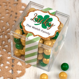 Personalized St. Patrick's Day Strength in Words JUST CANDY® favor cube with Sixlets Chocolate