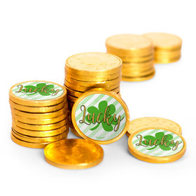 St. Patrick's Day Stripes Chocolate Coins with Stickers (72 Pack)