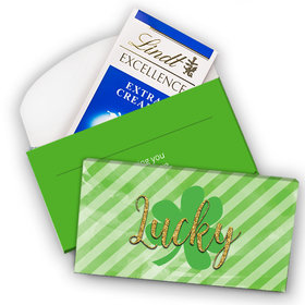 Deluxe Personalized St. Patrick's Day Stripes Lindt Chocolate Bar in Gift Box (3.5oz)