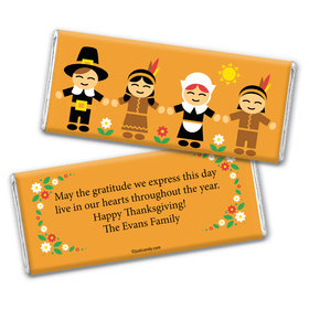 Thanksgiving Personalized Chocolate Bar Wrappers Indians and Pilgrims