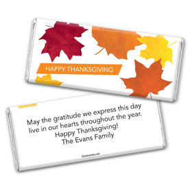 Thanksgiving Personalized Chocolate Bar Wrappers Fall Leaves