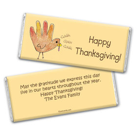 Thanksgiving Personalized Chocolate Bar Wrappers Child's Handprint Turkey