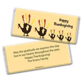 Thanksgiving Personalized Chocolate Bar Wrappers Hand Print Turkey Family