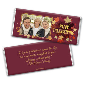 Thanksgiving Personalized Chocolate Bar Wrappers Falling Leaves with Photo