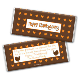 Thanksgiving Personalized Chocolate Bar Wrappers Happy Turkeys