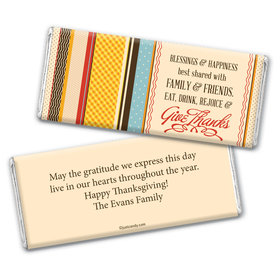 Thanksgiving Personalized Chocolate Bar Wrappers Share Blessings Give Thanks