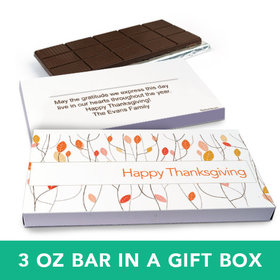 Deluxe Personalized Thanksgiving Fall Woods Chocolate Bar in Gift Box (3oz Bar)