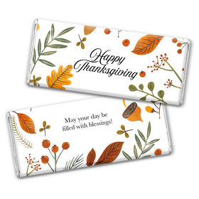 Personalized Thanksgiving Festive Leaves Chocolate Bar Wrappers Only